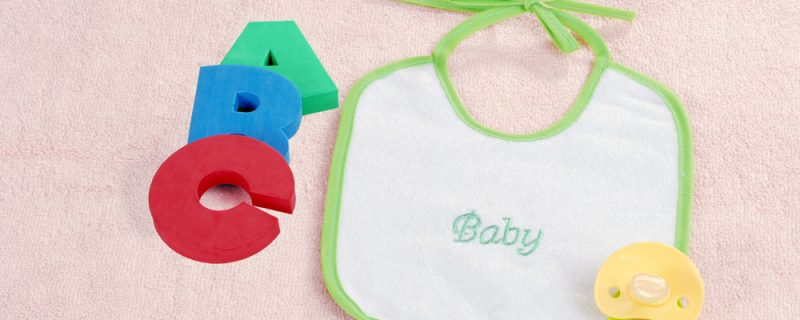 Baby bib with A B C letters